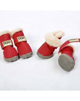 Chaussures pour chien couleur rouge