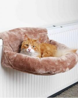 Hamac pour chat à fixer au radiateur en peluche hyper confortable