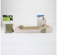 Griffoir pour chat en carton avec herbe à chat