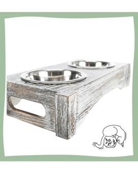 Double gamelle bois/acier inoxydable pour chat Trixie