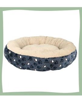 Panier pour chiot forme ronde design avec couverture en peluche
