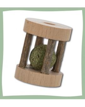 Rouleau de jeu pour chat en bois de matatabi avec balle solide au catnip